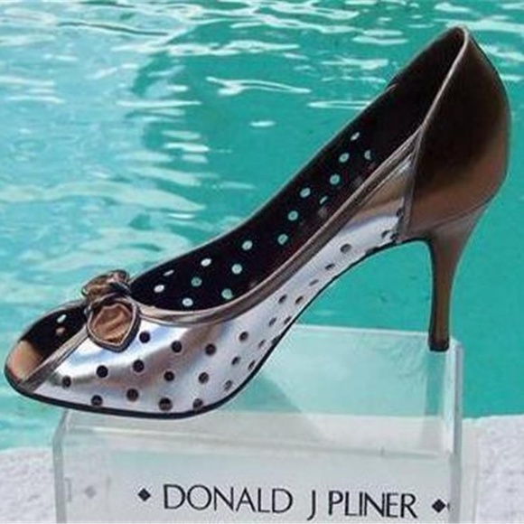 Donald J. Pliner Shoes - Couture Perforated Metallic Patent Leather Pump
